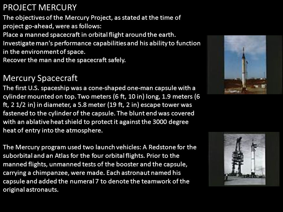 Mercury Spacecraft The first U.S. spaceship was a cone-shaped one-man capsule with a cylinder mounted on top. Two meters (6 ft, 10 in) long, 1.9 meter