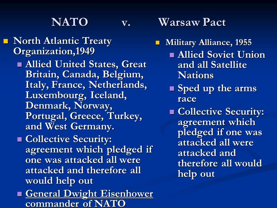 NATO v. Warsaw Pact North Atlantic Treaty Organization,1949 North Atlantic Treaty Organization,1949 Allied United States, Great Britain, Canada, Belgi