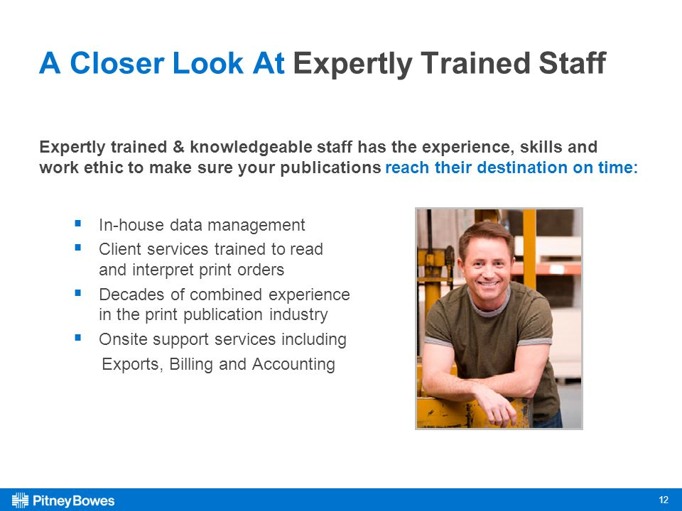 12 A Closer Look At Expertly Trained Staff Expertly trained & knowledgeable staff has the experience, skills and work ethic to make sure your publications reach their destination on time: In-house data management Client services trained to read and interpret print orders Decades of combined experience in the print publication industry Onsite support services including Exports, Billing and Accounting