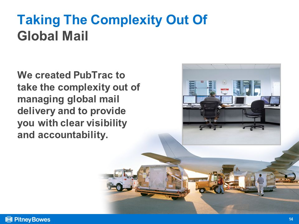 14 Taking The Complexity Out Of Global Mail We created PubTrac to take the complexity out of managing global mail delivery and to provide you with clear visibility and accountability.