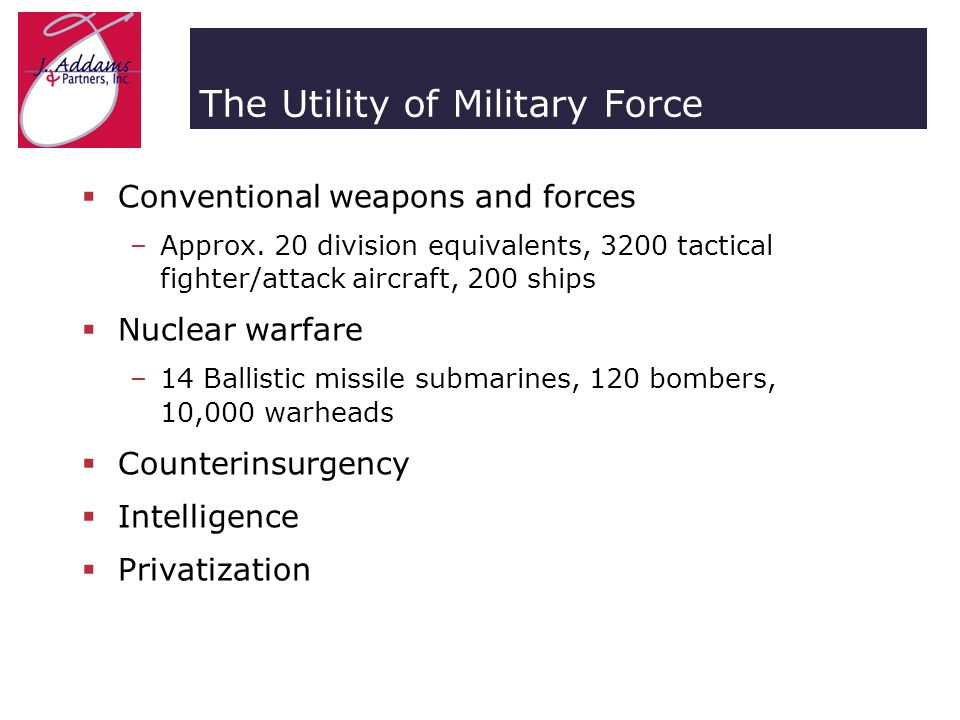The Utility of Military Force Conventional weapons and forces –Approx.