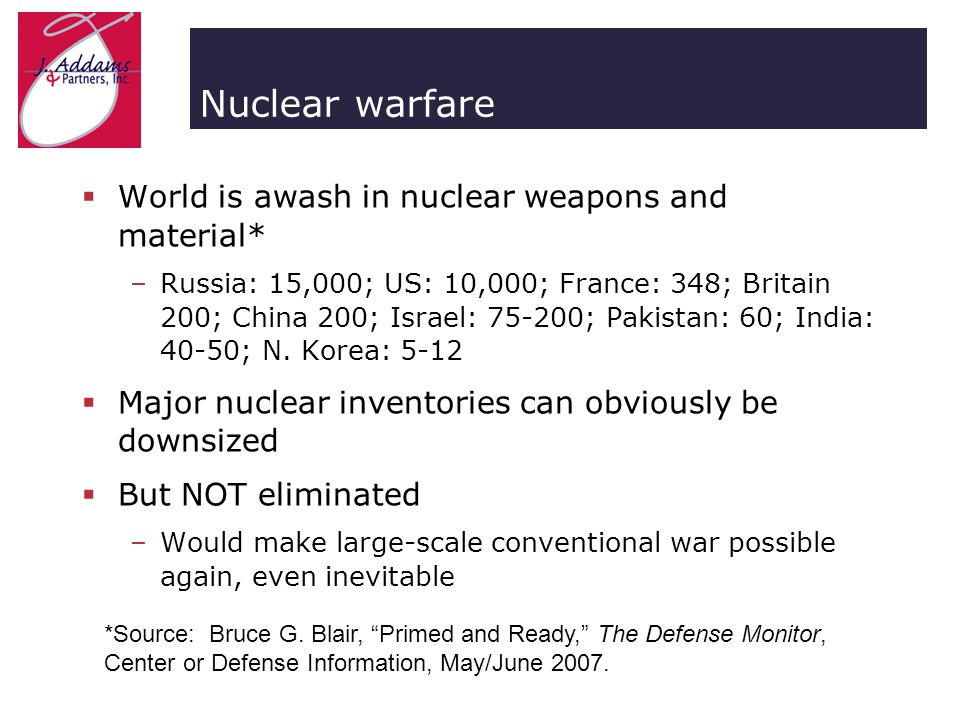 Nuclear warfare World is awash in nuclear weapons and material* –Russia: 15,000; US: 10,000; France: 348; Britain 200; China 200; Israel: 75-200; Pakistan: 60; India: 40-50; N.