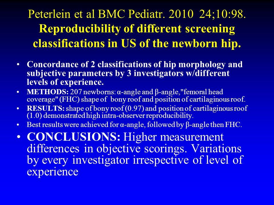 Peterlein et al BMC Pediatr. 2010 24;10:98. Reproducibility of different screening classifications in US of the newborn hip. Concordance of 2 classifi