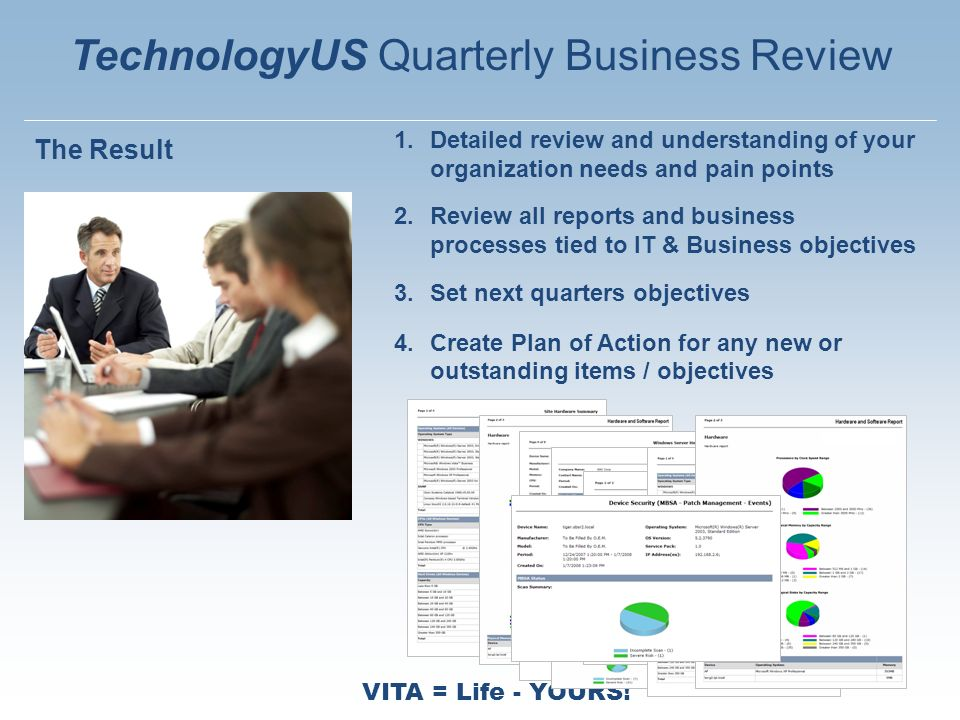 VITA = Life - YOURS! 1.Detailed review and understanding of your organization needs and pain points 2.Review all reports and business processes tied t