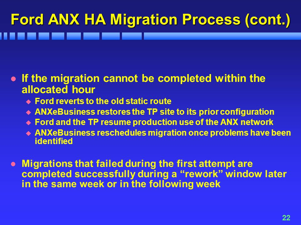 22 Ford ANX HA Migration Process (cont.) l If the migration cannot be completed within the allocated hour u Ford reverts to the old static route u ANXeBusiness restores the TP site to its prior configuration u Ford and the TP resume production use of the ANX network u ANXeBusiness reschedules migration once problems have been identified l Migrations that failed during the first attempt are completed successfully during a rework window later in the same week or in the following week
