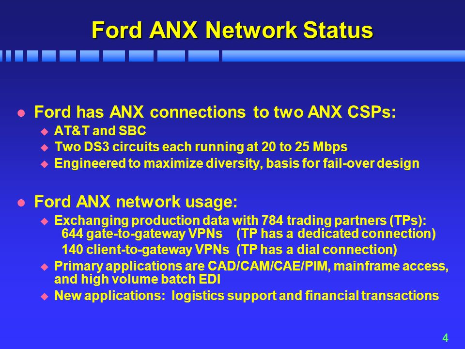 4 Ford ANX Network Status l Ford has ANX connections to two ANX CSPs: u AT&T and SBC u Two DS3 circuits each running at 20 to 25 Mbps u Engineered to maximize diversity, basis for fail-over design l Ford ANX network usage: u Exchanging production data with 784 trading partners (TPs): 644 gate-to-gateway VPNs (TP has a dedicated connection) 140 client-to-gateway VPNs (TP has a dial connection) u Primary applications are CAD/CAM/CAE/PIM, mainframe access, and high volume batch EDI u New applications: logistics support and financial transactions