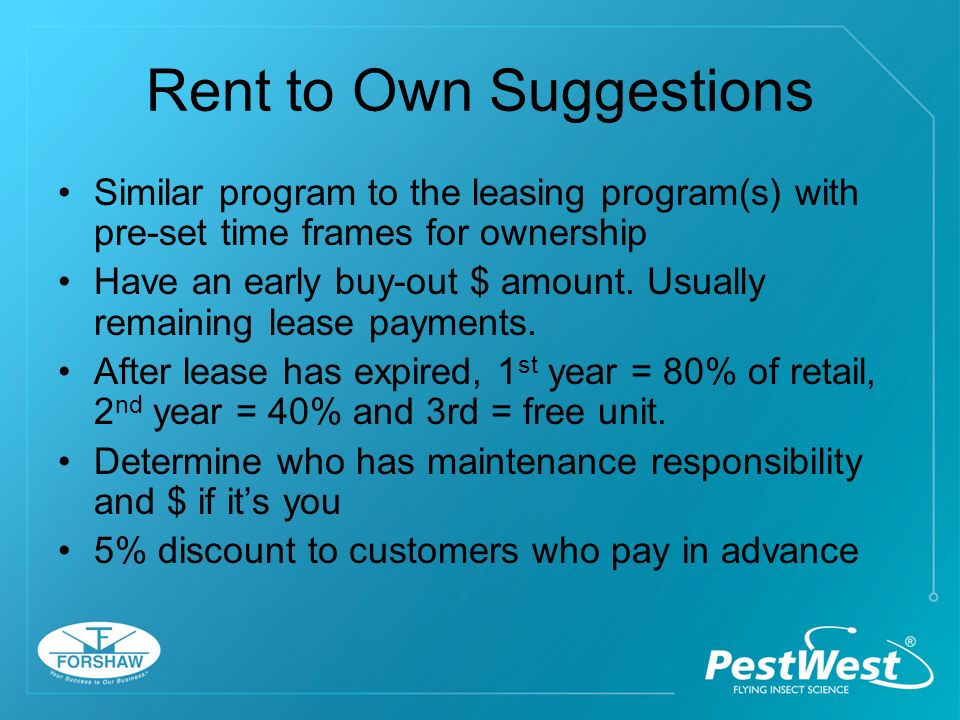 Leasing with Service Agreement 36 month lease PMP invests $ in the system $2.50 mo.