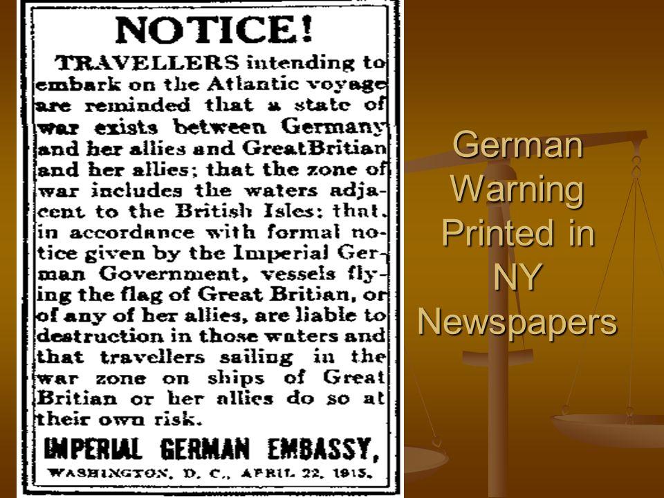 German Warning Printed in NY Newspapers