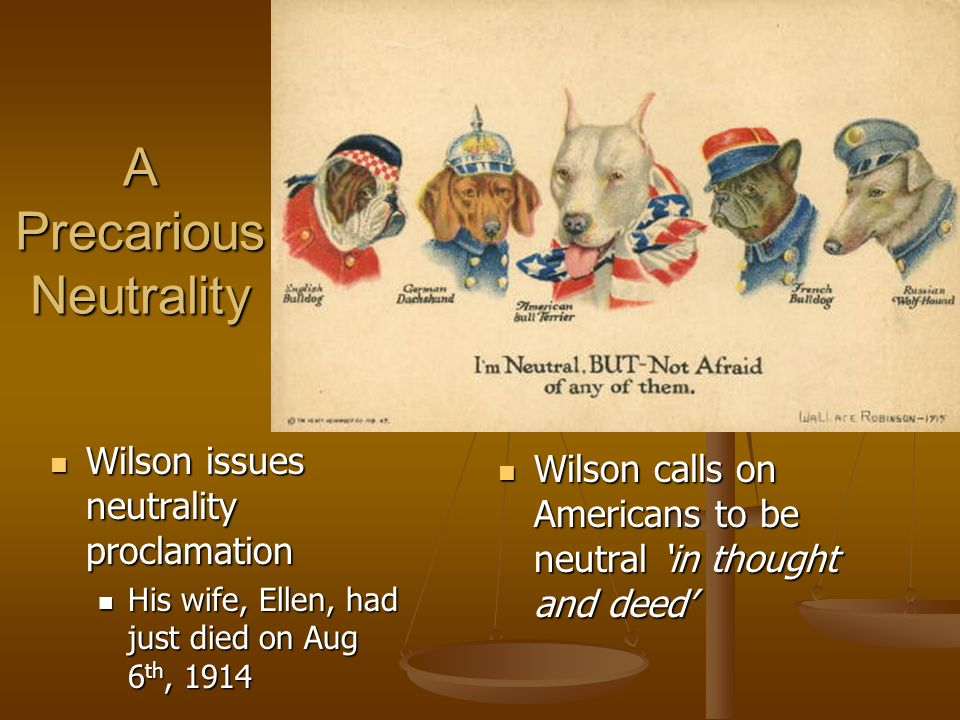 A Precarious Neutrality Wilson issues neutrality proclamation Wilson issues neutrality proclamation His wife, Ellen, had just died on Aug 6 th, 1914 His wife, Ellen, had just died on Aug 6 th, 1914 Wilson calls on Americans to be neutral in thought and deed Wilson calls on Americans to be neutral in thought and deed