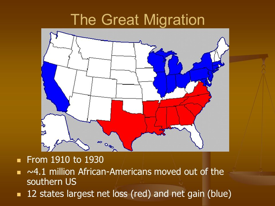 The Great Migration From 1910 to 1930 ~4.1 million African-Americans moved out of the southern US 12 states largest net loss (red) and net gain (blue)