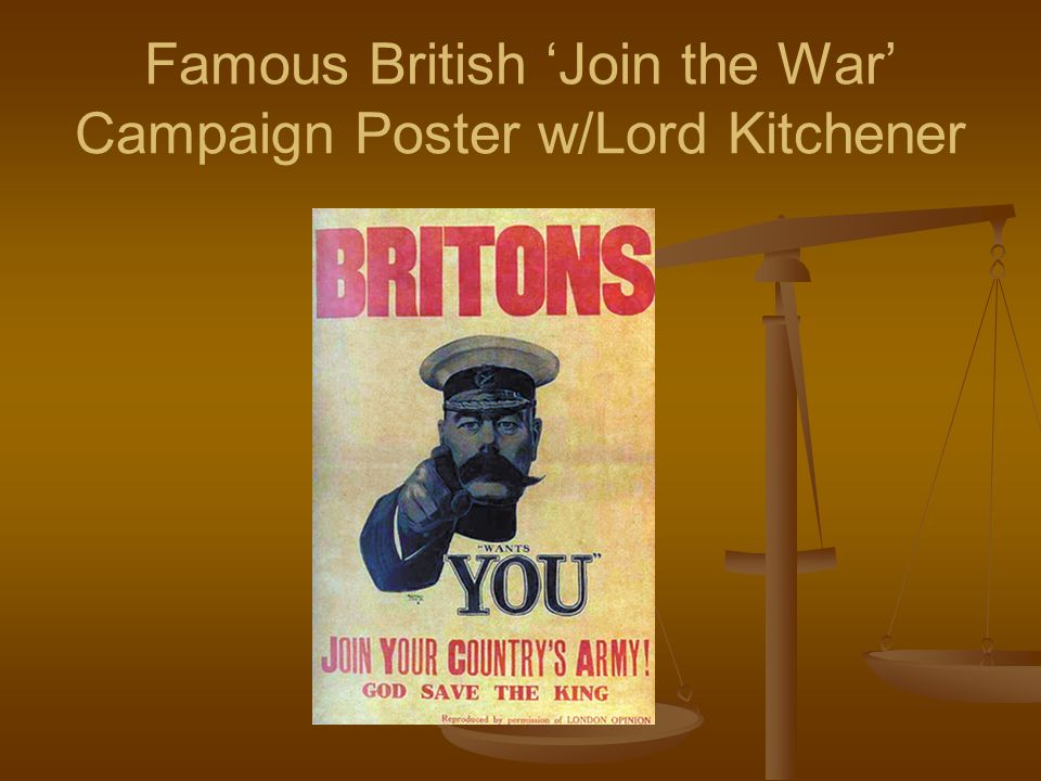 Famous British Join the War Campaign Poster w/Lord Kitchener