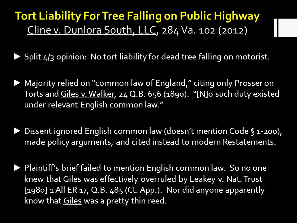 Tort Liability For Tree Falling on Public Highway Cline v.