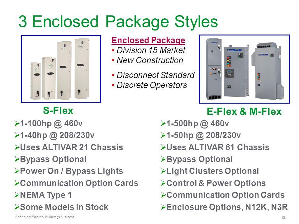 Schneider Electric 13 - Buildings Business S-Flex 3 Enclosed Package Styles E-Flex & M-Flex 1-100hp @ 460v 1-40hp @ 208/230v Uses ALTIVAR 21 Chassis B