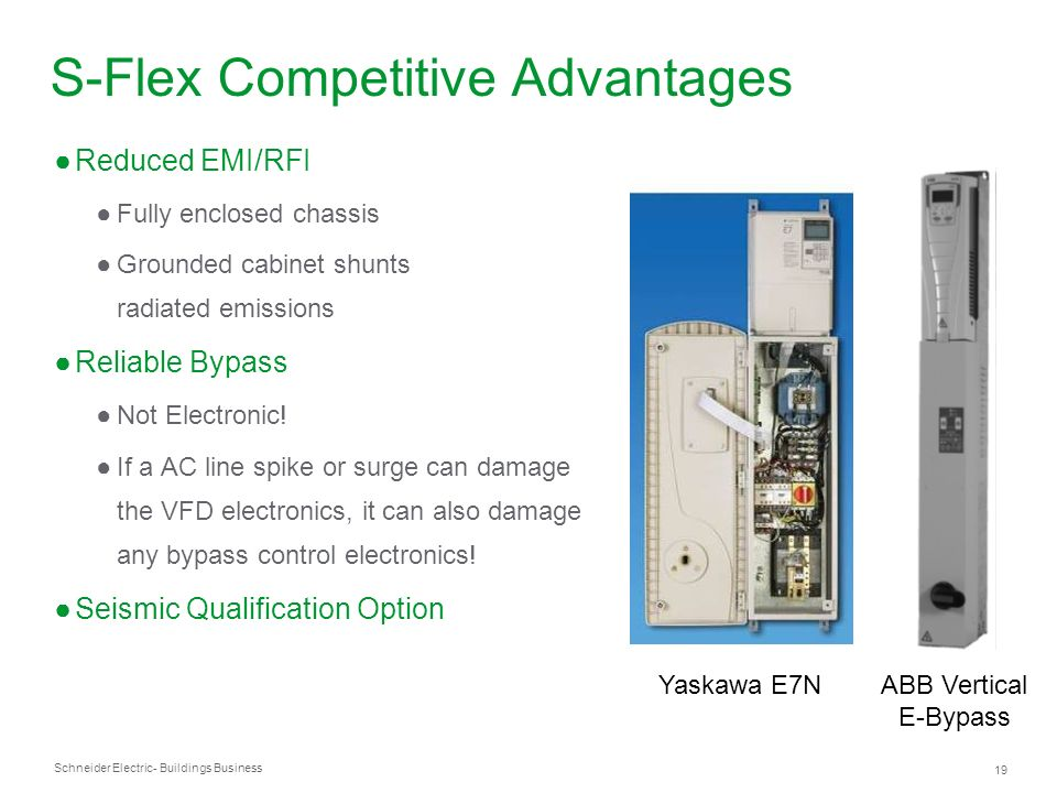 Schneider Electric 19 - Buildings Business S-Flex Competitive Advantages Reduced EMI/RFI Fully enclosed chassis Grounded cabinet shunts radiated emiss