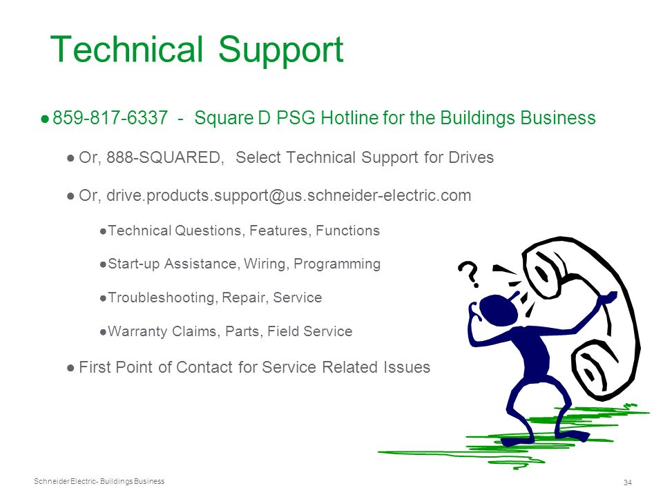 Schneider Electric 34 - Buildings Business Technical Support 859-817-6337 - Square D PSG Hotline for the Buildings Business Or, 888-SQUARED, Select Te
