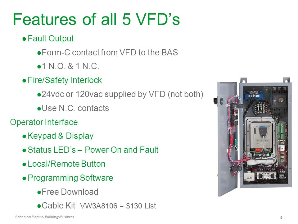 Schneider Electric 5 - Buildings Business Fault Output Form-C contact from VFD to the BAS 1 N.O. & 1 N.C. Fire/Safety Interlock 24vdc or 120vac suppli