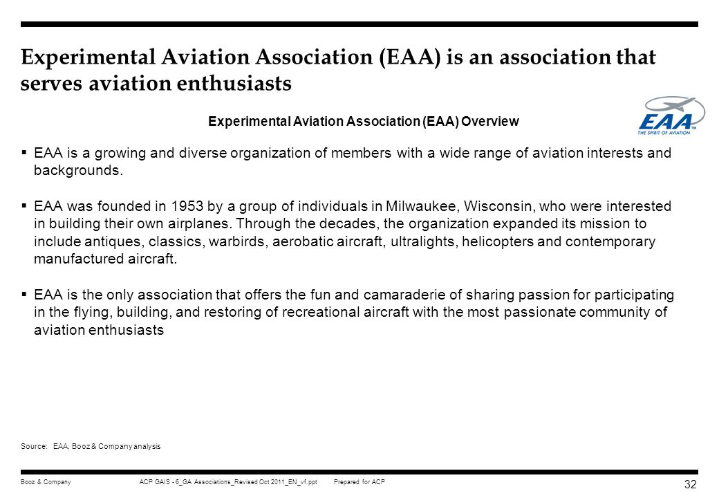 Prepared for ACPACP GAIS - 6_GA Associations_Revised Oct 2011_EN_vf.pptBooz & Company 31 AOPA advocates general aviation interest to government throug