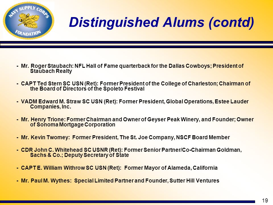 19 Distinguished Alums (contd) - Mr. Roger Staubach: NFL Hall of Fame quarterback for the Dallas Cowboys; President of Staubach Realty - CAPT Ted Ster
