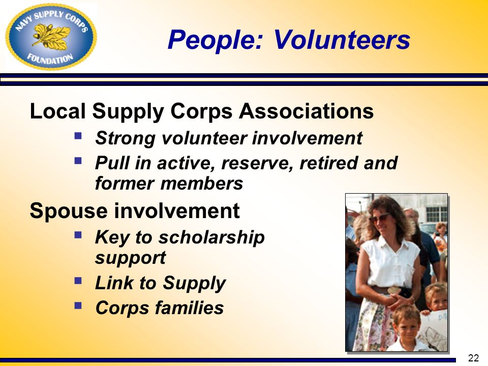 22 People: Volunteers Local Supply Corps Associations Strong volunteer involvement Pull in active, reserve, retired and former members Spouse involvem
