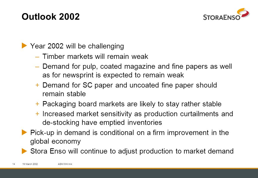 19 March 2002AGM/MH/mik14 Outlook 2002 Year 2002 will be challenging –Timber markets will remain weak –Demand for pulp, coated magazine and fine papers as well as for newsprint is expected to remain weak +Demand for SC paper and uncoated fine paper should remain stable +Packaging board markets are likely to stay rather stable +Increased market sensitivity as production curtailments and de-stocking have emptied inventories Pick-up in demand is conditional on a firm improvement in the global economy Stora Enso will continue to adjust production to market demand