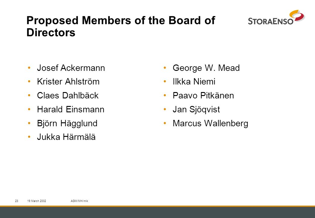 19 March 2002AGM/MH/mik23 Proposed Members of the Board of Directors Josef Ackermann Krister Ahlström Claes Dahlbäck Harald Einsmann Björn Hägglund Ju