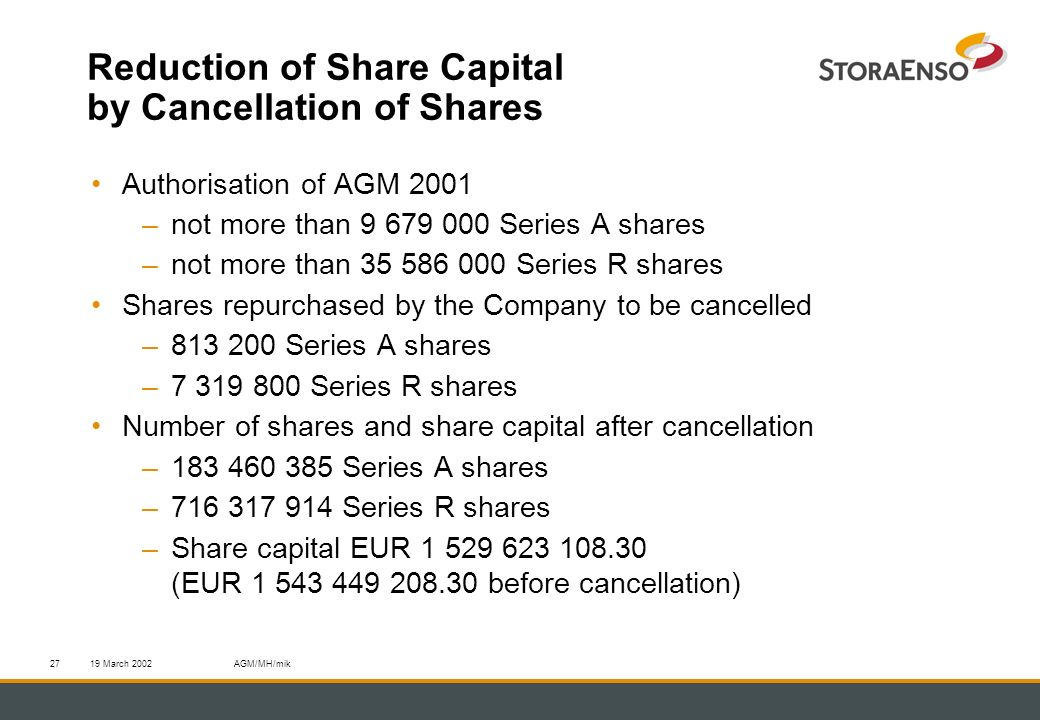 19 March 2002AGM/MH/mik27 Reduction of Share Capital by Cancellation of Shares Authorisation of AGM 2001 –not more than 9 679 000 Series A shares –not