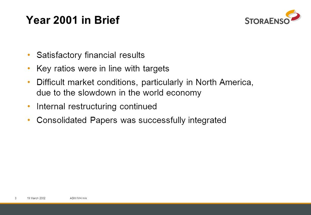 19 March 2002AGM/MH/mik3 Year 2001 in Brief Satisfactory financial results Key ratios were in line with targets Difficult market conditions, particularly in North America, due to the slowdown in the world economy Internal restructuring continued Consolidated Papers was successfully integrated