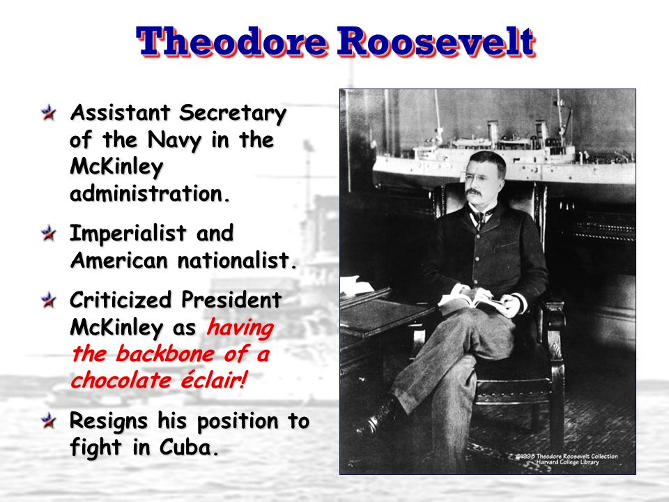 Theodore Roosevelt Assistant Secretary of the Navy in the McKinley administration. Imperialist and American nationalist. Criticized President McKinley