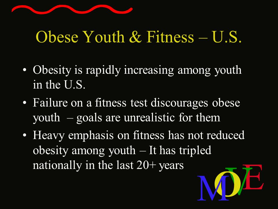 E V O M Obese Youth & Fitness – U.S. Obesity is rapidly increasing among youth in the U.S. Failure on a fitness test discourages obese youth – goals a