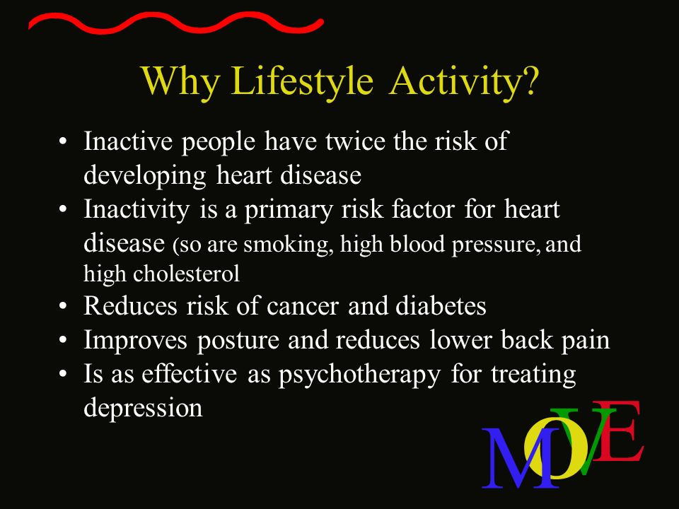 E V O M Why Lifestyle Activity? Inactive people have twice the risk of developing heart disease Inactivity is a primary risk factor for heart disease