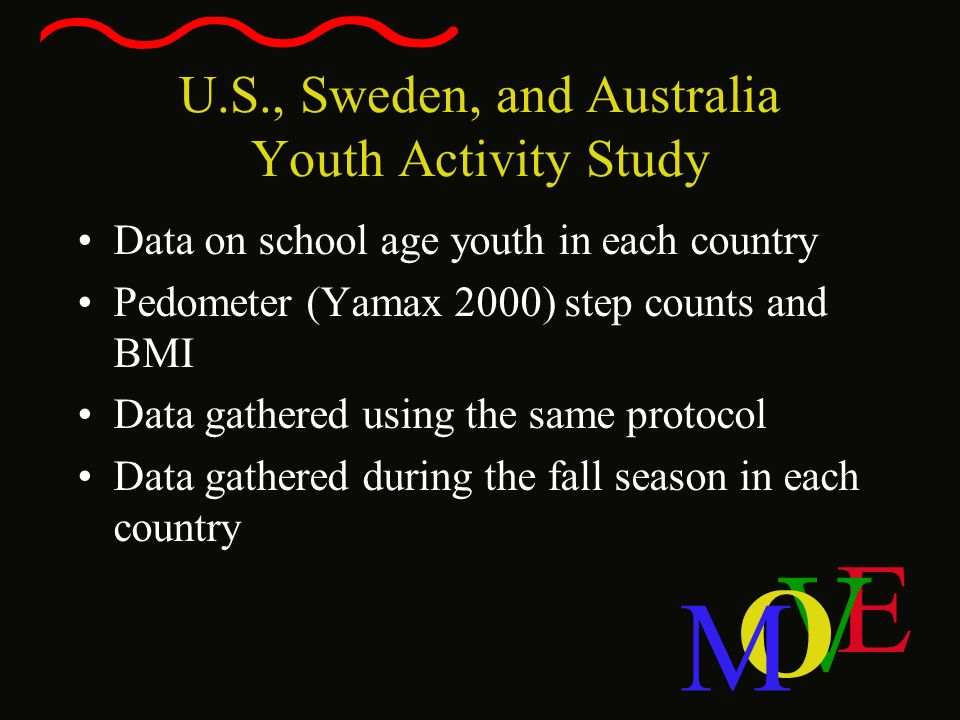 E V O M U.S., Sweden, and Australia Youth Activity Study Data on school age youth in each country Pedometer (Yamax 2000) step counts and BMI Data gath