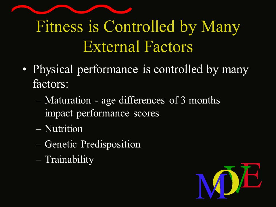 E V O M Fitness is Controlled by Many External Factors Physical performance is controlled by many factors: –Maturation - age differences of 3 months i
