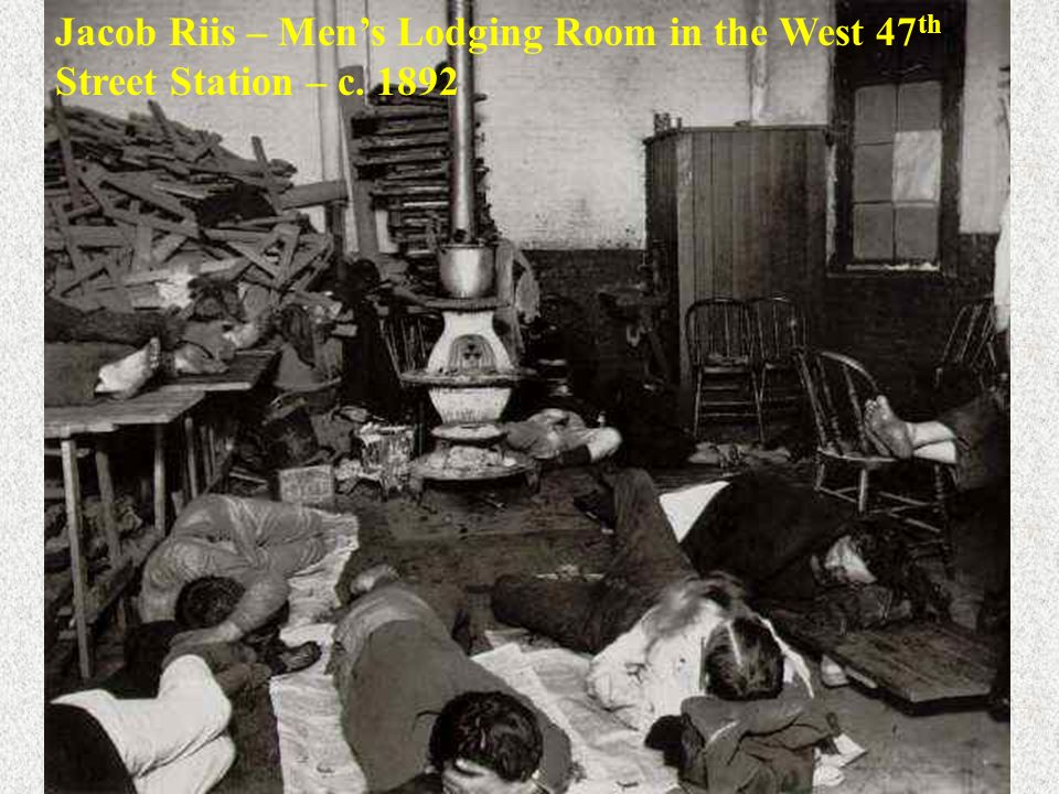 Jacob Riis – Mens Lodging Room in the West 47 th Street Station – c. 1892