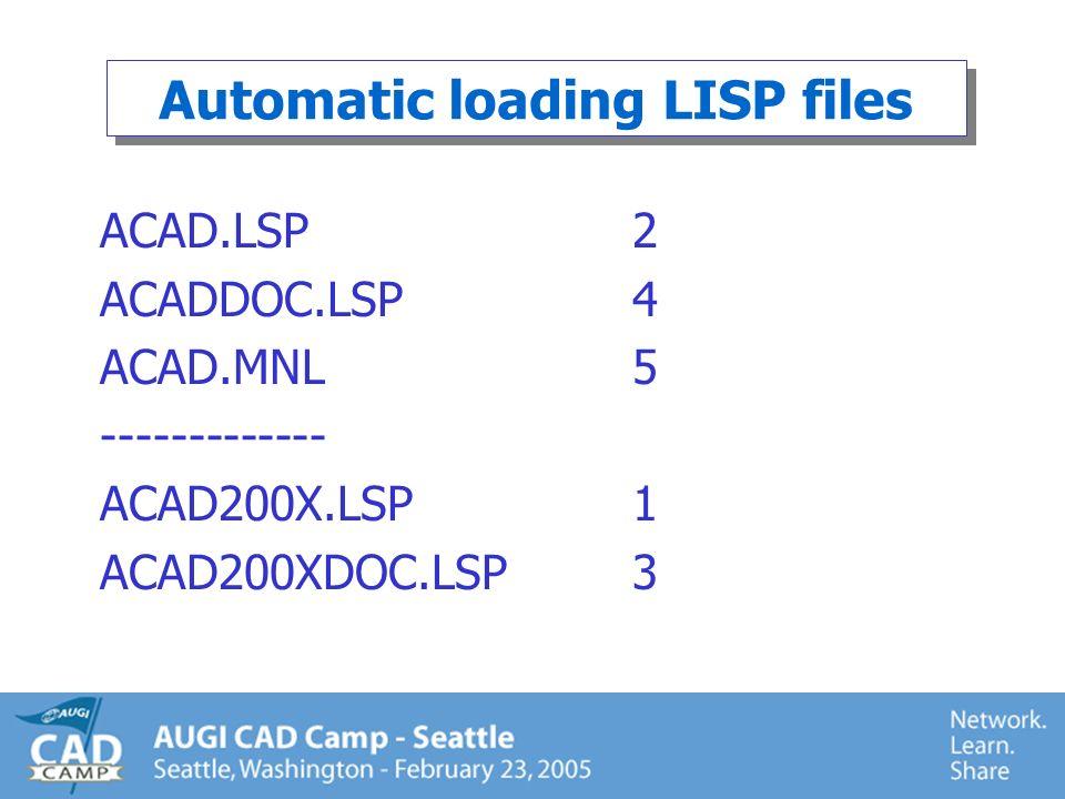 ACAD.LSP (defun c:ZA ( ) (command Zoom All) (princ)) (defun c:DT ( ) (setvar clayer TEXT) (command Dtext) (princ)) (defun c:bolt ( ) (command insert bolt pause pause pause) (princ))