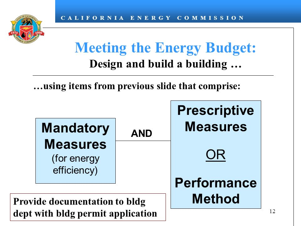 C A L I F O R N I A E N E R G Y C O M M I S S I O N 12 Meeting the Energy Budget: Design and build a building … Prescriptive Measures OR Performance Method AND Mandatory Measures (for energy efficiency) …using items from previous slide that comprise: Provide documentation to bldg dept with bldg permit application