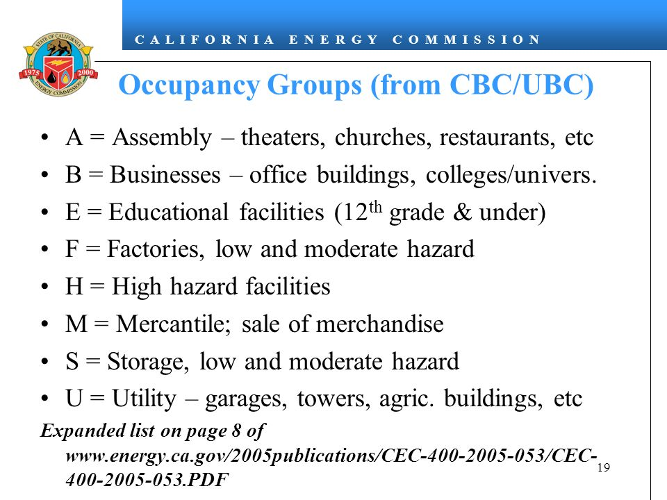 C A L I F O R N I A E N E R G Y C O M M I S S I O N 19 Occupancy Groups (from CBC/UBC) A = Assembly – theaters, churches, restaurants, etc B = Businesses – office buildings, colleges/univers.