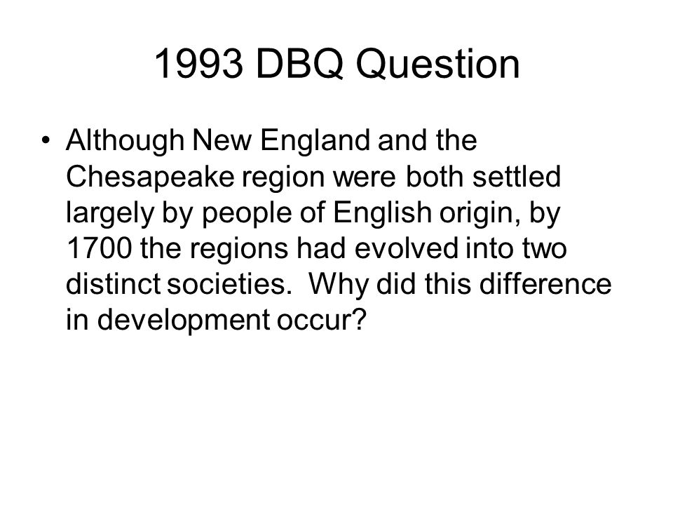 although new england and the chesapeake region thesis