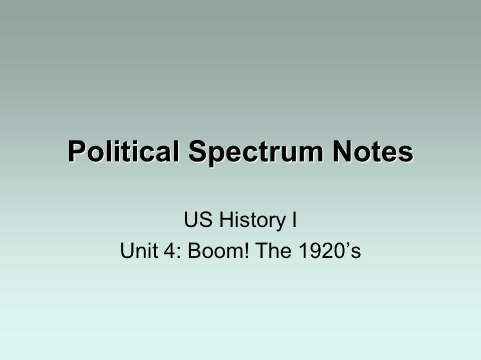 Political Spectrum Notes US History I Unit 4: Boom! The 1920s