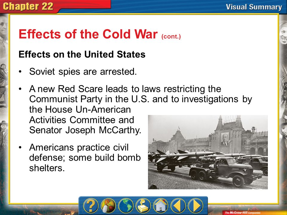 VS 7 Effects of the Cold War (cont.) Effects on the United States Soviet spies are arrested. A new Red Scare leads to laws restricting the Communist P