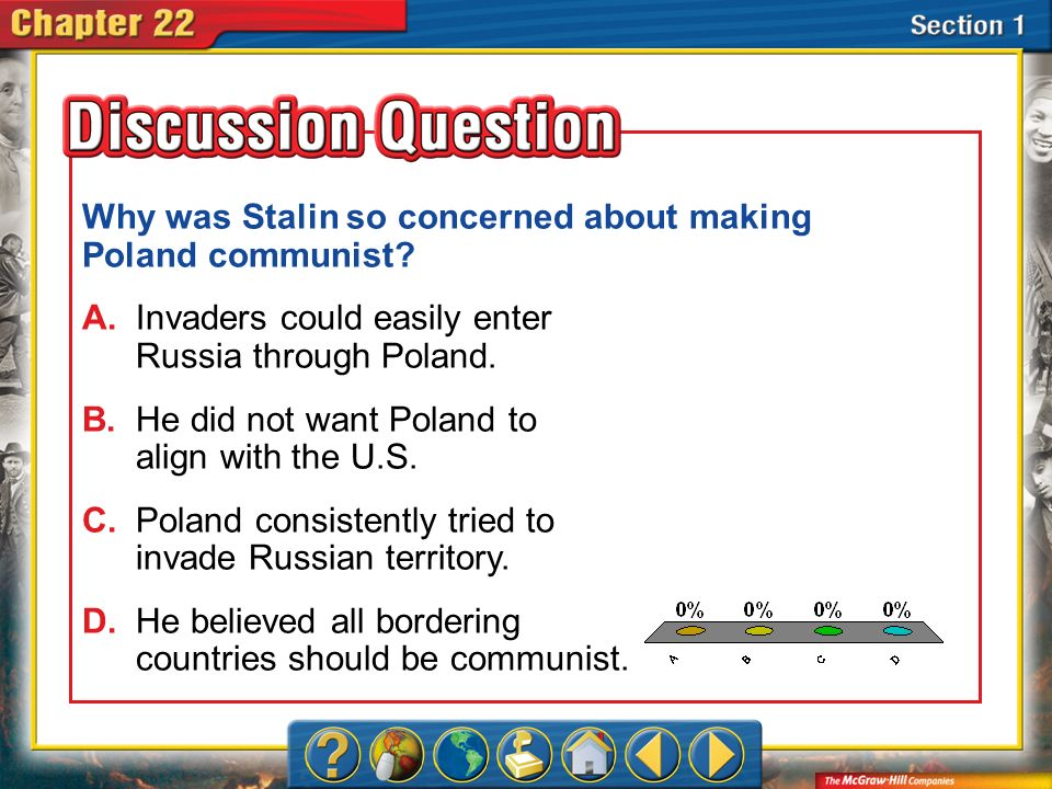 A.A B.B C.C D.D Section 1 Why was Stalin so concerned about making Poland communist? A.Invaders could easily enter Russia through Poland. B.He did not