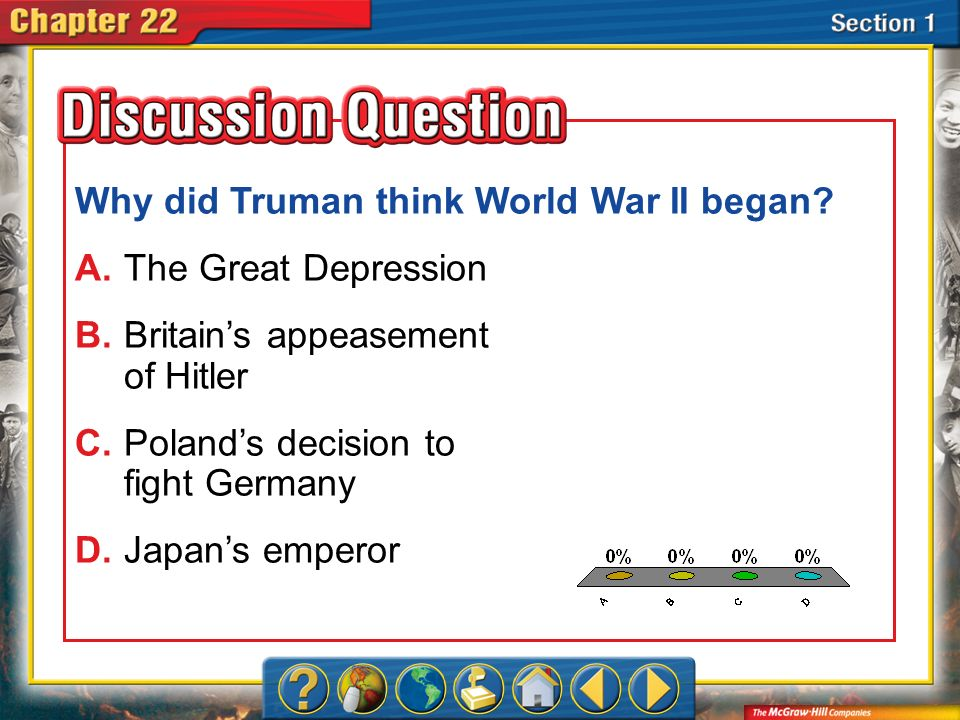 A.A B.B C.C D.D Section 1 Why did Truman think World War II began? A.The Great Depression B.Britains appeasement of Hitler C.Polands decision to fight