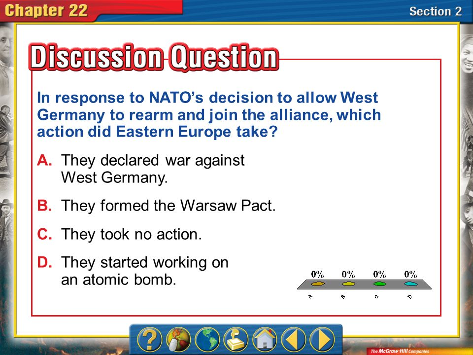 A.A B.B C.C D.D Section 2 In response to NATOs decision to allow West Germany to rearm and join the alliance, which action did Eastern Europe take? A.
