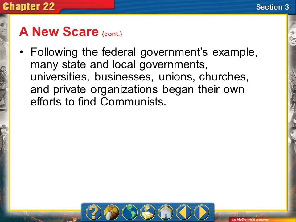 Section 3 Following the federal governments example, many state and local governments, universities, businesses, unions, churches, and private organiz