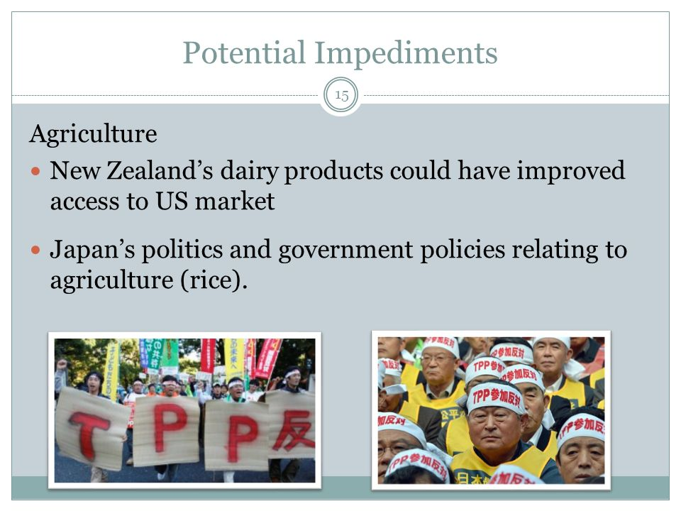 Potential Impediments Agriculture New Zealands dairy products could have improved access to US market Japans politics and government policies relating to agriculture (rice).