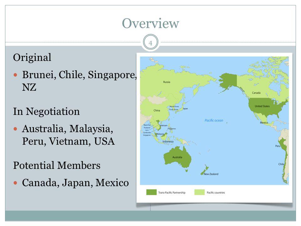 Overview Original Brunei, Chile, Singapore, NZ In Negotiation Australia, Malaysia, Peru, Vietnam, USA Potential Members Canada, Japan, Mexico 4