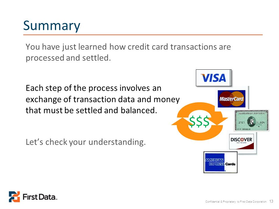 Confidential & Proprietary to First Data Corporation. 13 Summary You have just learned how credit card transactions are processed and settled. Each st