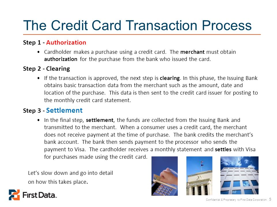 Confidential & Proprietary to First Data Corporation. 5 The Credit Card Transaction Process Step 1 - Authorization Cardholder makes a purchase using a