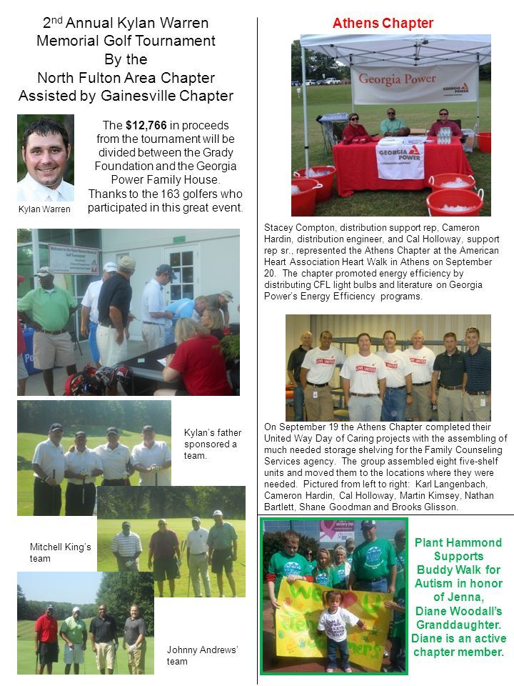 2 nd Annual Kylan Warren Memorial Golf Tournament By the North Fulton Area Chapter Assisted by Gainesville Chapter The $12,766 in proceeds from the to