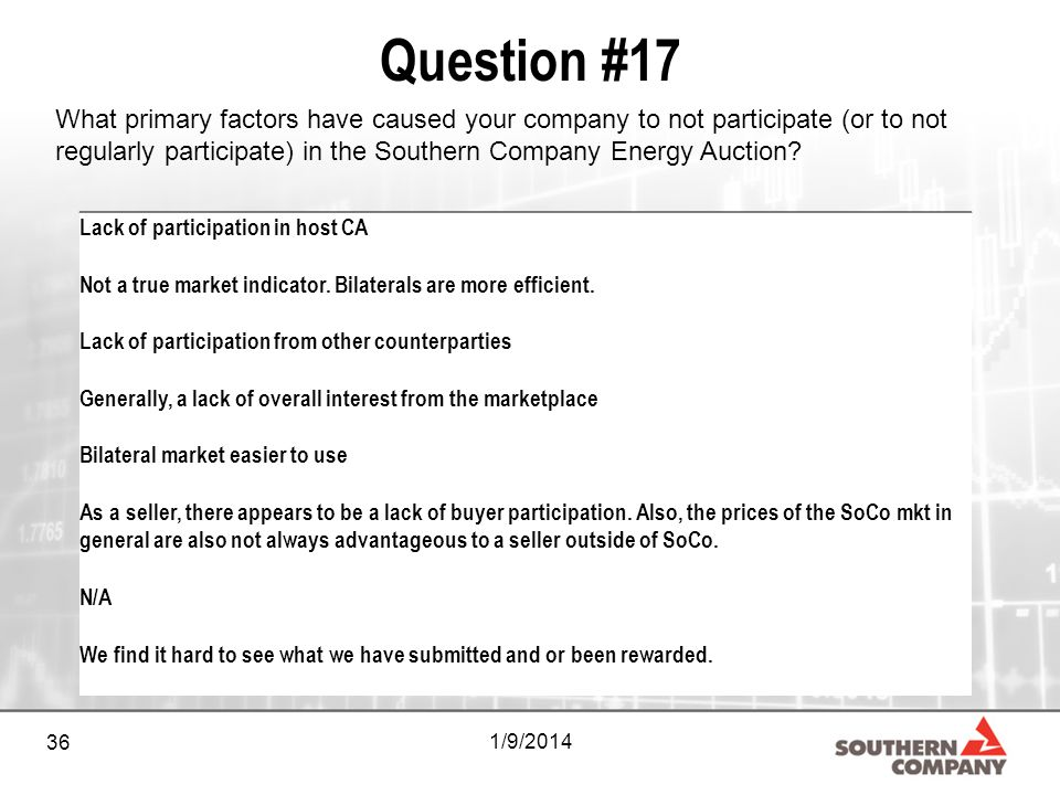 36 1/9/2014 Question #17 What primary factors have caused your company to not participate (or to not regularly participate) in the Southern Company Energy Auction.