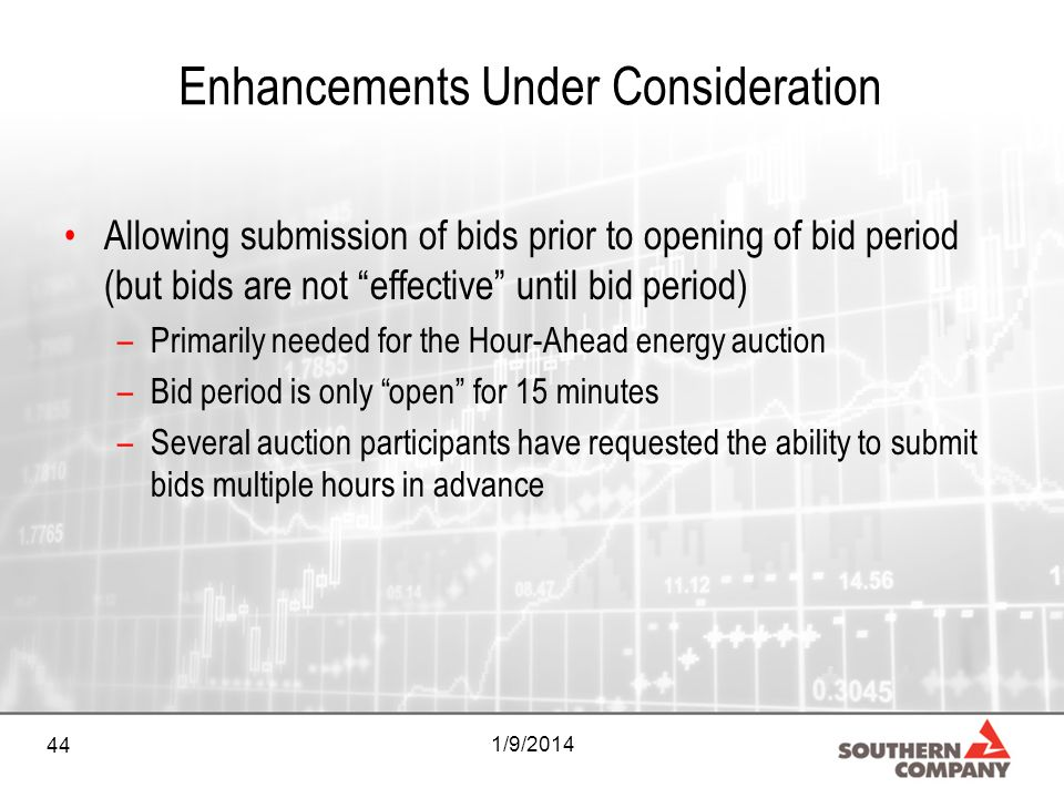 44 1/9/2014 Enhancements Under Consideration Allowing submission of bids prior to opening of bid period (but bids are not effective until bid period)